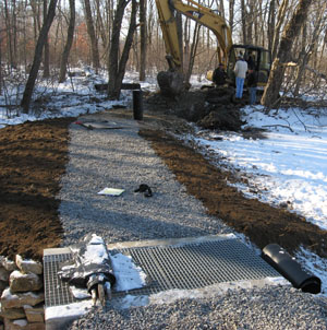 Gilmore Pond dam repair in progress