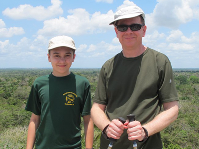 Scott with his son Cooper at Lamanai, Belize