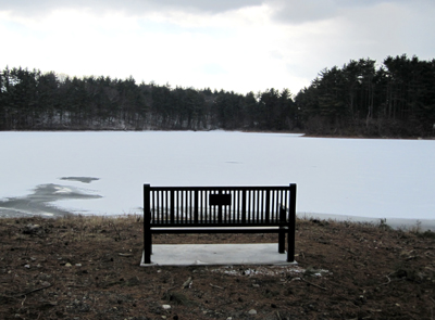 View over the frozen reservoir from behind the bench