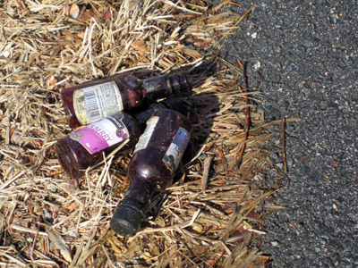 Bottle litter downtown