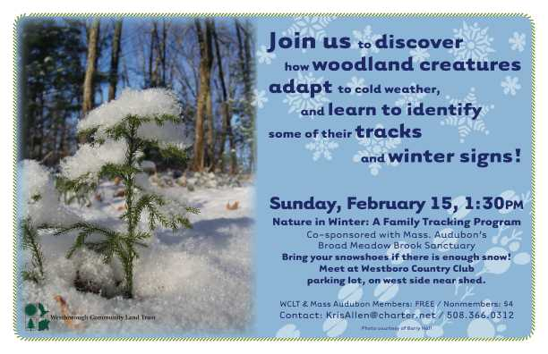 Nature In Winter Poster WCLT and Mass Audubon members are free.